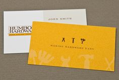 Elegant and contemporary yellow Hardware Store print design. Refreshing and clean. #inkd #letterpress