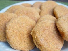 Pumpkin Snickerdoodles~ What you will need: For the cookies:... 3 3/4 cups flour 1 1/2 teaspoons baking powder 1/2 teaspoon salt 1/2 teaspoon ground cinnamon 1/4 teaspoon ground nutmeg 2 sticks unsalted butter, room temperature 1 cup sugar 1/2 cup dark brown sugar 1 cup pumpkin puree 1 large egg 2 teaspoons vanilla extract For the coating: 1/2 cup sugar 1 teaspoon ground cinnamon 1/2 teaspoon ground ginger Dash of allspice In a medium bowl, combine flour, baking powder, salt, cinnamon, and…