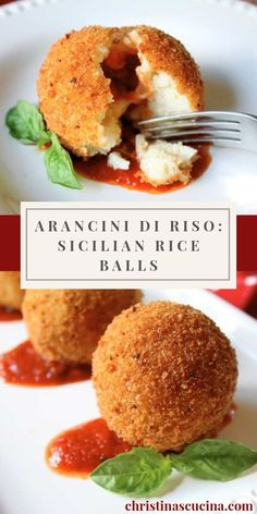 Arancini di Riso: Sicilian Rice Balls Authentic Sicilian rice balls are easy to make with simple step by step instructions! Everyone LOVES these! New Recipes, Vegetarian Recipes, Cooking Recipes, Favorite Recipes, Cooked Rice Recipes, Rice Cake Recipes, Gourmet Recipes, Recipies, Italian Appetizers