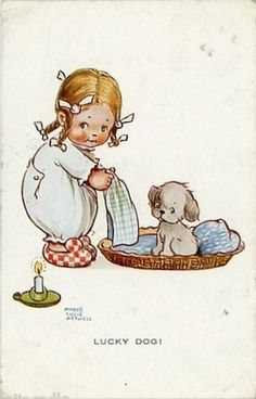 Lucky Dog ~ Vintage Greetings Postcard by Mabel Lucie Attwell . Vintage Children's Books, Vintage Cards, Vintage Postcards, Vintage Pictures, Vintage Images, Cute Pictures, Retro, Children's Book Illustration, Animals For Kids