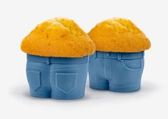 """Muffin Top Cupcake Pants We've all seen the """"muffin top"""" look before, but not like this. Fill these adorable jean-style cupcake pants with your favorite cake batter.  As MUFFIN TOPS bake, they develop that little extra bulge around the middle."""