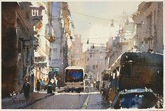 Chien Chung-Wei 【The streets of Rome】Watercolour....Demo by Chien Chung Wei,18*27CM,2014. 去年畫過同樣這張題材,用半透明技法。今年底,再為學生示範,改畫成透明水彩,各有千秋啊~