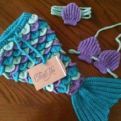 Newborn Mermaid with Seashell Bikini, Mermaid Photo Prop, Newborn Photo Prop, Crochet Baby Mermaid, Newborn Crochet Patterns, Crochet Headband Pattern, Knitting Patterns Free, Free Pattern, Baby Mermaid Crochet, Mermaid Mermaid, Mermaid Tails, Crochet Mermaid Tail Pattern, Bikini Crochet