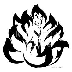 Flower Kyuubi | A nine-tailed kitsune with flower-petal tails