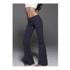 Ladies Lowrise Cotton Lycra Foldover Yoga Pants, Medium Navy Blue TQM. $24.99