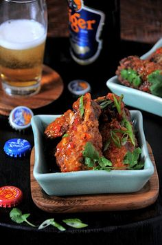 Asian Crispy Chicken Wings + sweet, spicy chili sauce