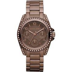 Michael Kors Mini-Size Blair Multi-Function Glitz Watch, Espresso ($250) found on Polyvore