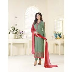 Honeydews Beautiful Designer Georgette Green Color Semi Stitched Straight Suit