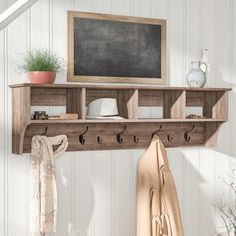 Add some rustic modern farmhouse gorgeousness to any room in your home instantly with a rustic coat rack. An extremely versatile farmhouse decor item because a coat rack is not just a coat rack! Coat Rack With Storage, Diy Coat Rack, Rustic Coat Rack, Coat Rack Shelf, Wall Mounted Coat Rack, Coat Racks, Hanging Coat Rack, Coat Hooks With Shelf, Coat Rack With Bench