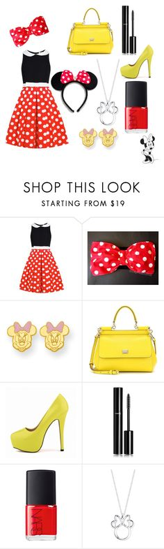 """""""Minnie"""" by miekefairhurst ❤ liked on Polyvore featuring Kevin Jewelers, Dolce&Gabbana, Posh Girl, Chanel, NARS Cosmetics and Disney"""