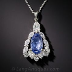 4.39 Carat No-Heat Pear-Shape Sapphire, Platinum and  Diamond Pendant