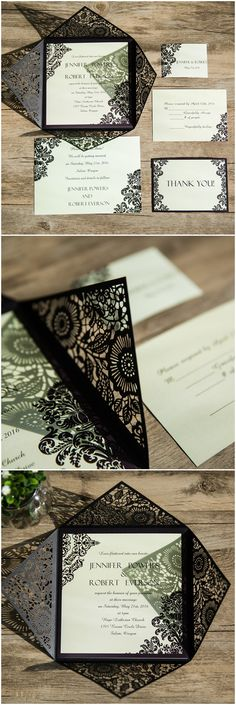 vintage damask black laser cut wedding invitations EWWS061 @elegantwinvites