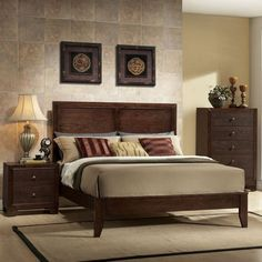 Rustic yet luxurious, the Acme Furniture Madison Platform Bed makes a sophisticated addition to any bedroom. This wood panel bed features clean. Acme Furniture, Modern Bedroom Furniture, Bed Furniture, Wooden Bedroom, Furniture Dolly, Furniture Layout, Furniture Stores, Furniture Design, Wooden King Size Bed