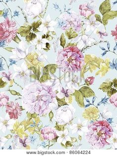 Floral Vintage Seamless Watercolor Background