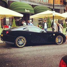 Sexy Black Velvet Ferrari California outside Harrods