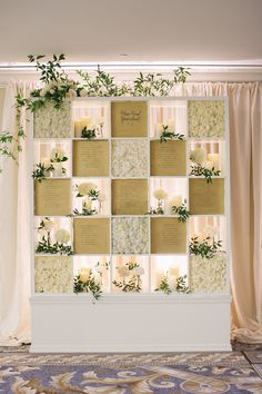 Amazing idea grid design for a seating chart – this wedding reception guided guests to their seats with bright greenery, and white floral filled boxes alternating with elegant ivory scripted guest table numbers. Wedding Reception Seating, Reception Decorations, Fall Wedding, Our Wedding, Ireland Fashion, Gold Color Palettes, Floral Event Design, Seating Charts, White Roses