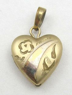 Tru-Kay Gold Filled Heart Locket - Garden Party Collection Vintage Jewelry