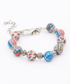 Love this Silver  Denim Blue Filigree Bead Bracelet by Viva Beads on #zulily! #zulilyfinds