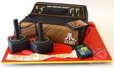 About the Atari 2600 video game console cake complete with edible joysticks & Pacman & Vanguard game cartridges that was created by The Pink Cake Box company. Cakes For Men, Cakes And More, Geek Birthday, Birthday Ideas, Birthday Cakes, 50th Birthday, Fortieth Birthday, Happy Birthday, Pastries Images
