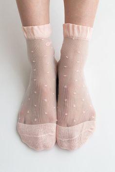 Women New Hezwagarcia Pink Cute Polka Dot Ribbon Nylon Sheer See Through Ankle Socks Hosiery