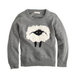 Girls' fuzzy sheep sweater : sweaters | J.Crew