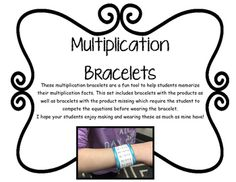 These multiplication bracelets are a fun tool to help students memorize their multiplication facts. This set includes bracelets with the products as well as bracelets with the product missing which require the student to compete the equations before wearing the bracelet.