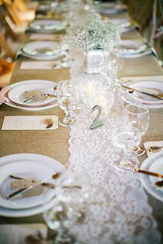 lace table runner, photo by Sarah Rose Burns Photography http://ruffledblog.com/colorado-wedding-under-the-super-moon #tablescape #tablerunner