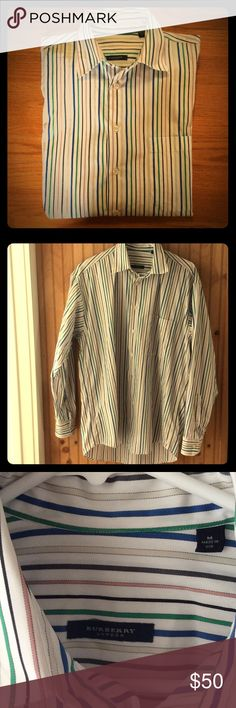 Burberry London Men's striped dress shirt size M Burberry London Men's white/green/blue/beige/pink/brown/black striped dress shirt size M.  Pre-owned, excellent condition.  100% imported cotton. Burberry Shirts Dress Shirts
