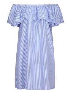 Blue Off Shoulder Stripe Print Ruffle Overlay Dress