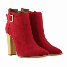 High Heels Wood Grain Belt Buckle Suede Club Boots