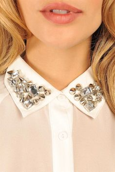 Brit Bejewled Blouse - White