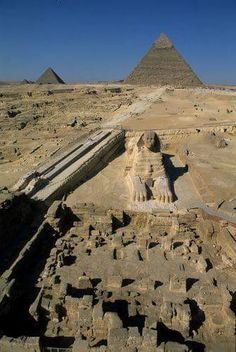 Aerial view of Giza - the Sphinx and the great pyramids