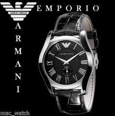 EMPORIO ARMANI Herren Uhr AR0643 Herrenuhr Schwarz Leder ORIGINAL NEU