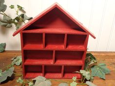 Vintage Wood Divided Display Box  - Small Red Shadow Box House  -  14-1155 by BubbiesMemories on Etsy