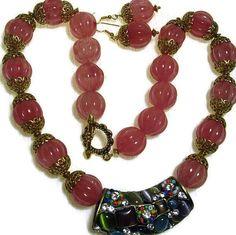 Pink Quartz Carved Beads  Statement by BEADEDNECKLACESHOPPE