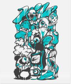 Nike by Yup Visual Art Studio, via Behance Graffiti Doodles, Graffiti Cartoons, Graffiti Characters, Graffiti Drawing, Street Art Graffiti, Art Drawings, Graphic Design Illustration, Illustration Art, Graffiti Wallpaper