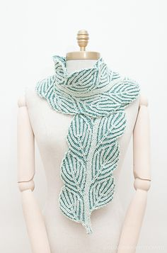Winter Birch scarf is double knit and its leaves are brioche.