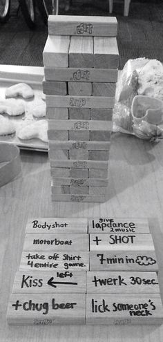 ✔ Drinking Jenga ~ Fun for a game night. I don't do drinking games but this sounds fun with the right friends! need to update my jenga! Party Fiesta, Festa Party, Party Party, Drinking Jenga, Fun Drinking Games, College Drinking Games, Bachelorette Bucket Lists, Bachelorette Ideas, Bachlorette Party