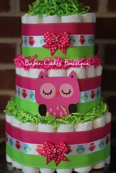 3 Tier Pink and Green Owl Diaper Cake, Girls Owl Baby Shower, Pink and Green Owl Baby Shower Decor by BabeeCakesBoutique on Etsy https://www.etsy.com/listing/218478750/3-tier-pink-and-green-owl-diaper-cake