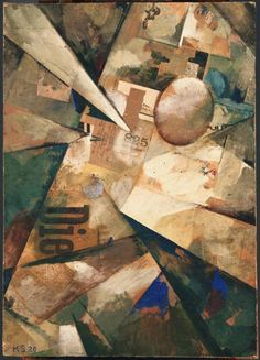 Kurt Schwitters ~ Radiating World (Merzbild 31B), 1920 (oil and paper collage on cardboard)