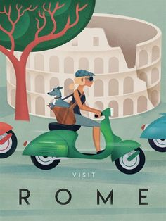 Vintage retro inspired Italy Travel Poster, Rome, Girl, Vespa, Dog. Add some retro glamour to your wall with this vintage themed travel poster, with or without mat! This artwork is printed on matte…MoreMore #ItalyPhotography #ItalyVacation #LivinginItaly #ItalyTravel