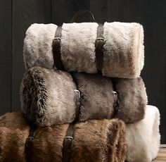 Luxe Faux Fur Throws by restorationhardware: So sumptous and cozy. Even comes with a carrying strap ( à la yoga mat strap!). Thanks to @Elizabeth Lockhart Silbermann ! #Throw #Faux_Fur