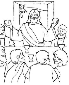 Jesus in the Last Supper Coloring Page Make your world more colorful with free printable coloring pages from italks. Our free coloring pages for adults and kids. Jesus Coloring Pages, Printable Coloring Pages, Coloring Pages For Kids, Coloring Sheets, Free Coloring, Lords Supper, Last Supper, Bible Story Crafts, Bible Stories