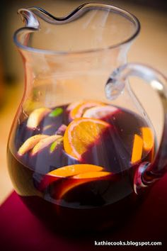 Party Sangria Recipe- sounds simple enough 1 Bottle of red wine (Cabernet Sauvignon, Merlot, Rioja, Zinfandel, Shiraz)1 Lemon cut into wedges1 Orange cut into wedges1 Lime cut into wedges2 T. sugarSplash of orange juice or lemonade1 c. of raspberries or strawberries 1 small can of diced pineapples (with juice)3 c. ginger ale1 c. club soda