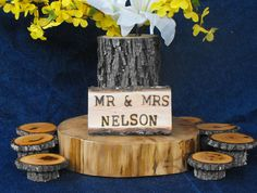 Custom Name Rustic Live edge wooden Wedding Table Center Piece, Door sign - pinned by pin4etsy.com