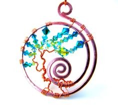 Tree of Life Pendant Swarovski Crystals Peridot by CarrieEastwood, $40.00