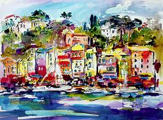 #Portofino #Italiam #Riviera #Watercolor and #Ink #Painting by @ginetteart