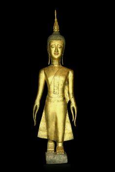 Walking wooden Buddha. Laos. 18/19th cent. Om Mani Padme Hum, Buddha Statues, Asian Art, Handmade Art, Buddhism, Laos, Philosophy, Religion, Walking