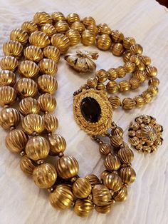 Ethnic Folk Necklace with Handmade Used brown yellow Grooved Glass Bead from Nepal,Unique Shaped Ethnic Beads,Himalaya Jewelry,Asian jewelry
