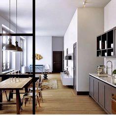 What an amazing open plan!  Ambiente perfeito! Tudo bem amplo!  #wpwpaula #decor #design #designdeinteriores #interior #interiordesign #instadecor #instadecorating #livingroomdesign #arquitetura #architecture #homedesign #wpwp_kitchen